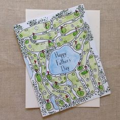$4.50 18 Holes Father's Day Card, Context Studio, Made in Nashville, TN, Hand painted, Hand lettered, Watercolor, by Casey King, Stationery