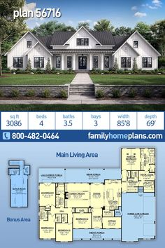 Country Farmhouse Plan has 3086 Sq Ft, 4 Beds, Baths and a Large Rear Porch and Deck - Farmhouse home plan with almost 3100 square feet, 4 bedrooms, bathrooms and a side entry - House Plans One Story, Ranch House Plans, New House Plans, Dream House Plans, One Story Houses, Dream Houses, Rambler House Plans, Brick House Plans, Four Bedroom House Plans
