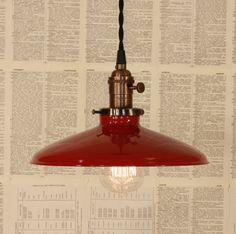 Lighting With Red Enamel Shade and Reproduction by lucentlampworks, $118.00