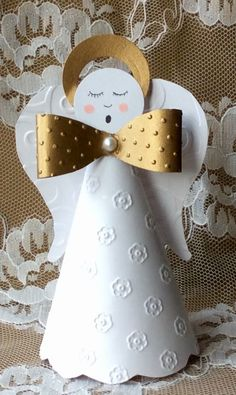 Sweet Angel by - Cards and Paper Crafts at Splitcoaststampers Christmas Paper, Christmas Tree Toppers, Diy Christmas Ornaments, Christmas Angels, Christmas Themes, Christmas Decorations, Cute Crafts, Diy And Crafts, Crafts For Kids