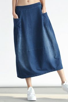 2017 Denim Pocket Cotton Skirt Simple Women Clothes - All Hair Styles Older Women Fashion, Curvy Fashion, Urban Fashion, Boho Fashion, Womens Fashion, Fashion Trends, Cotton Skirt, Cotton Fabric, Discount Womens Clothing