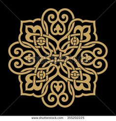 Ocher on black background, Arabic Floral Ornament . Ocher on black background Arabic Floral Ornament . Ocher on black background. Stencil Patterns, Stencil Designs, Pattern Art, Embroidery Patterns, Pattern Design, Motifs Islamiques, Islamic Motifs, Islamic Art Pattern, Turkish Art