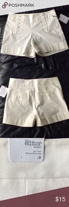 Express White Shorts Express Editor Shorts ➖ 96% Cotton 4% Spandex ➖ cute front button design Express Shorts