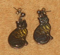 Vintage cat earrings by Catloversdream on Etsy