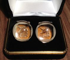 Rare Vintage SWANK Etched Chunky Glass Unicorn Cufflinks