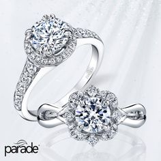 Which diamond halo engagement ring do you prefer from Parade Designs?  (Left - R3237 or Right - R3544)