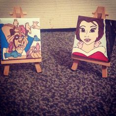 Beauty and the beast mini canvases