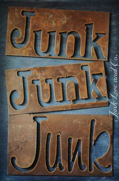 Rusty Metal JUNK Letter Sign by Junk Love and Co by JunkLoveandCo, $12.00