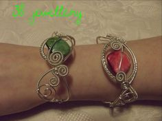 These #bracelets were our #first #commision #ever . The customer requested them with #green and #red #accents . #silver #plated #wire . #3bjewellery #jewel #jewell #jewelry #jewellery #jewelery #bracelet #wirewrapping #intermediate #picoftheday ✅