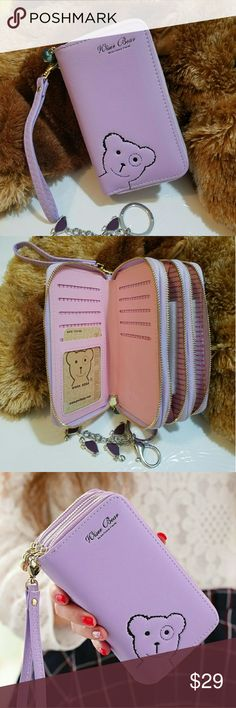 """""""Wiser Bear """" Phone Wrist Wallet  (Purple) 2017 Fashion Women Wrist Wallet ??Cute Bear Lady Handbag Clutch Zipper ??Multifunction Coin Purse ??Universal Phone Case Cover For iPhone 7 6S Samsung Galaxy S7 S6 Edge   ??Description Ingredient: High Quality PU Leather Size: 15 cm x 9.6 cm x 4.5 cm  (L x W x H) Note: Cellphones below 5.5 Inch  Structure: 3 Zipper Pockets 9 Credit Card Slots 1 Photo Frame Package Include: 1 x wallet    1 x Strap Wiser Bear  Bags Clutches & Wristlets"""