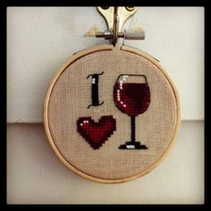 i love wine  cross stitch hoop by MissStitchedCrafts on Etsy