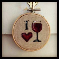 i love wine  cross stitch hoop by MissStitchedCrafts on Etsy