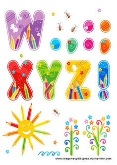 abecedario con dibujos infantiles. Letras de la W a la Z y signos de puntuación.