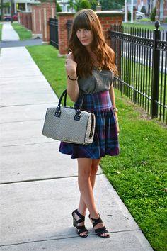 Plaid and stripes for summer, plus a @katespadeny bag! (www.houseofjeffers.com) #fashionblogger #ootd #stripes #outfits #curlyhair