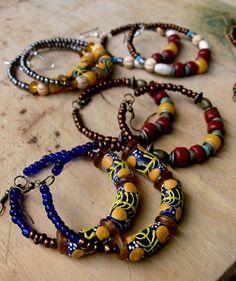 Yellow & Blue African Bead Hoop Earrings Wood by stoneandbone