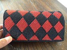 Vintage Black/red Embroidered Beaded Evening Clutch handmade