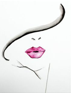 Big puffed rouge lips, done with water colours