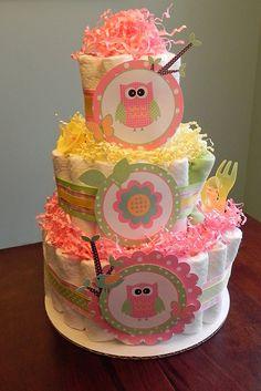 BabyBinkz tres niveles rosa & amarillo arbolado buho del pañal Cake    Nuestros tres niveles Rosa & Woodland buho pañal pastel amarillo es el regalo