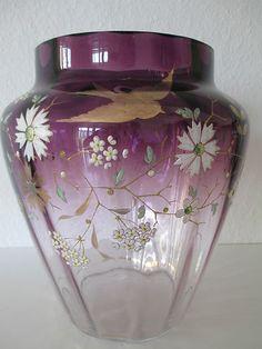 Large Antique ART Nouveau Gold Enamel Glass Vase Bohemia Austria Moser C 1900 | eBay