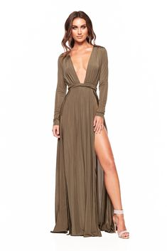 6a5933358e2c Sahara - Olive Long Sleeved Gown with Thigh-High Slits & Plunge Neck  Long