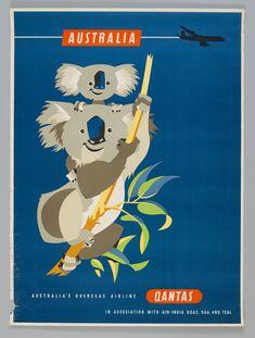 Australian Qantas Airlines promotional poster (1960s)