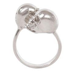 Silver/Grey-Crystal Twin Skull Ring