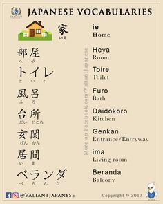 Valiant Japanese Language School | IG/FB - @ValiantJapanese | Japanese Vocabularies | JLPT N4 / N5 Level | Topic: Home