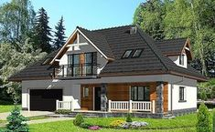 HG-I5 jest projektem domu jednorodzinnego, bez podpiwniczenia, parterowym z poddaszem, w stylu nowoczesnym, w stylu tradycyjnym, w technologii murowanej, z dachem wielospadowym, z dodatkowym pokojem na parterze, z dużą kotłownią, z dużym salonem, z garażem dwustanowiskowym, z ustawnym salonem Our World, Home Fashion, Woodworking Projects, Exterior, Cabin, Architecture, House Styles, Modern, Home Decor
