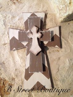 Wooden Chevron Wall Cross with Burlap Bow on Etsy, $32.50