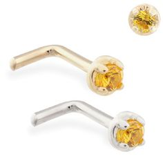 14K Solid Gold (Nickel free) L-shaped nose pin with 1.5mm Citrin