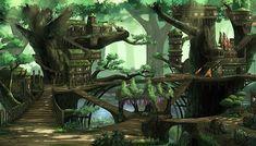 Fantasy Treehouse City – High Quality Parallax Background | GameDev Market