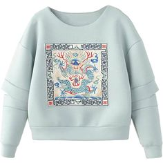 Light Blue Embroidered Front Slit Sleeve Sweatshirt (310 DKK) ❤ liked on Polyvore featuring tops, hoodies, sweatshirts, sweaters, stretchy tops, polyester sweatshirt, light blue sweatshirt, round top and stretch top