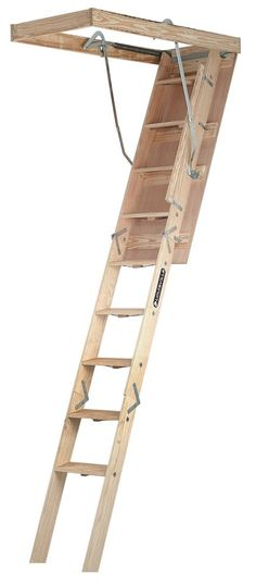 Champion Series 7 Feet - 8 Feet 9 Inch, 25.5 Inch x 54 Inch Wood Attic Ladder with 300 lb. Maximum Load Capacity