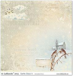 """Designpapier """"Santa Claus IV"""" aus der Kollektion LaBlanche Größe: ca. 30,5 x 30,5 cm beidseitig bedruckt Papierstärke: 160 g"""