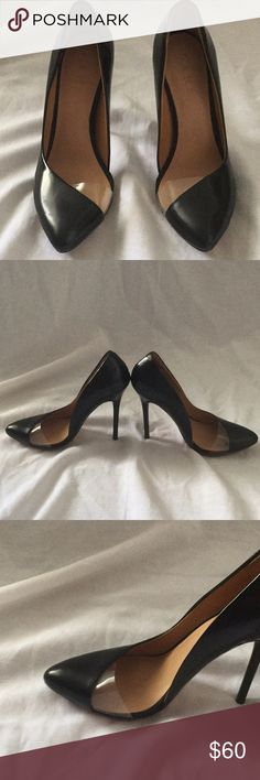 NWOT L.A.M.B leather and clear detail stilettos In perfect condition, never worn L.A.M.B. Shoes Heels