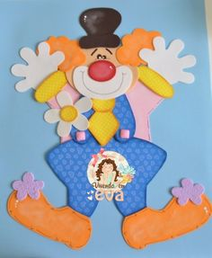 Aplique payaso en #gomaeva Clown Party, Circus Party, Carnival Birthday Parties, Diy Birthday, Patchwork Quilting, Fun Crafts For Kids, Art For Kids, Foam Crafts, Paper Crafts