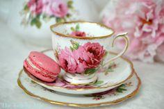 Royal Albert American Beauty Teacup and Saucer Trio, English Bone China Tea Cup Set, Wedding gift, c. 1941-1977
