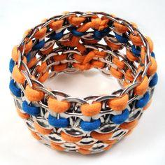 Upcycled Soda Pop Tab and Orange and Blue Tee-Shirt Bracelet. $25.00, via Etsy.