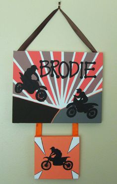 Orange and Brown Dirt Bikes Personalized Painting by Kateskidart - need to request different colors for PJ's party