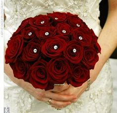 Deep Red Roses with Jewels in bridal bouquet