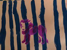 animaux de la savane le lion peinture