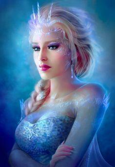 Elsa Repaint by artist gothic-icecream. Frozen Disney, Frozen Film, Elsa Frozen, Disney Fun, Disney Magic, Punk Disney, Disney Stuff, Disney Films, Disney And Dreamworks