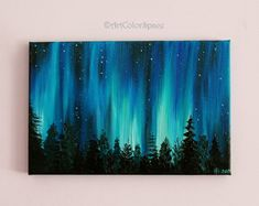 Small Galaxy painting Night sky Northern lights painting Landscape painting Aurora borealis Oil painting on canvas Home decor Size 8x12""