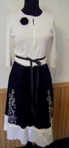 #The Gypsy Cottage        #Skirt                    #Black #White #Embroidery #Skirt #Gypsy #Sweater #Coat                        Black and White Embroidery Skirt Gypsy Sweater Coat                           http://www.seapai.com/product.aspx?PID=60954