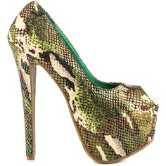Shoe Republic Women's Bennett - Green ($45) ❤ liked on Polyvore featuring shoes, heels, peep toe shoes, colorful shoes, snake shoes, mid heel shoes and peep-toe shoes