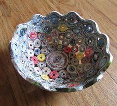 Recycled magazine bowls basket handmade home by fantasmaniaxx