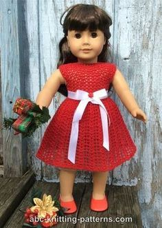ABC Knitting Patterns - American Girl Doll Christmas Dress with Tulle Underskirt and White Satin Belt Crochet Doll Dress, Crochet Doll Clothes, Crochet Doll Pattern, Girl Doll Clothes, Girl Dolls, Crochet Dresses, Dolls Dolls, Barbie Clothes, Ropa American Girl