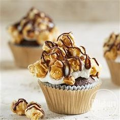 Chocolate Cupcakes with Buttery Toffee Popcorn from Pillsbury® Baking