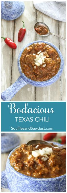 Incredible, meaty, chunky chili with flavors as big as Texas.  From the food blog, SoufflesandSawdust.com
