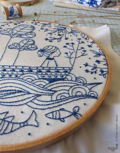 Welcome to my shop. Blue Ocean Embroidery design can be appliqued to a pillow cover or a bag. It can also make an excellent wall decoration,
